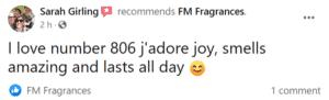 Sarah Girling Avatar - FM Perfume Facebook Review